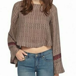 Free People Stars Aligned Cropped Bell Sleeve Top